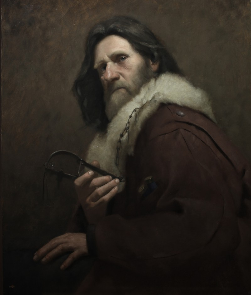 """The William Bouguereau Award went to David Gluck for """"The Trapper,"""" 2011, oil on linen, 24 inches by 30 inches. (Courtesy of David Gluck)"""