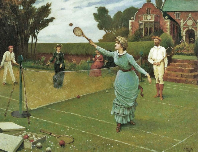 1 Horace Henry Cauty (English genre painter, Horace Henry Cauty (1846-1909)  The Tennis Match