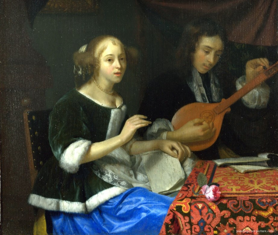 SCHALCKEN-Godfried-A-Woman-singing-and-a-Man-with-a-Cittern-Painting-