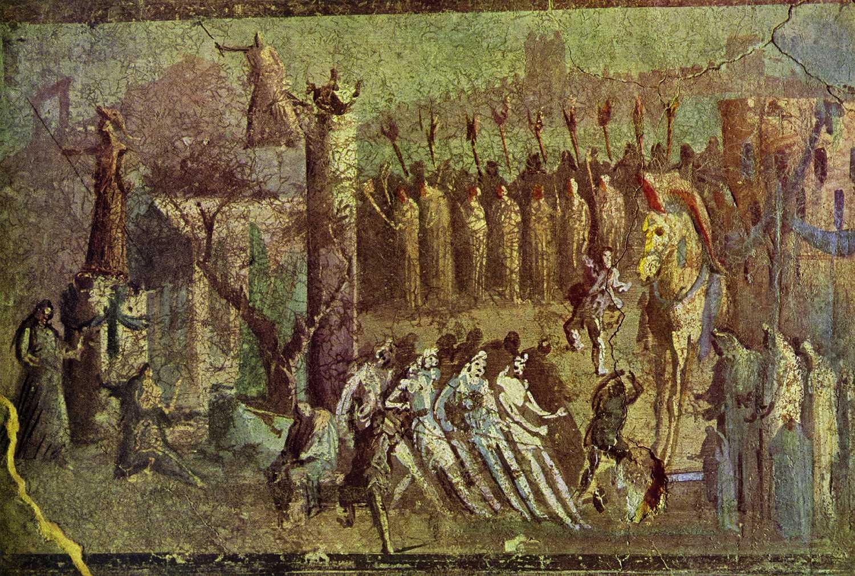 trojan horse roman wall painting