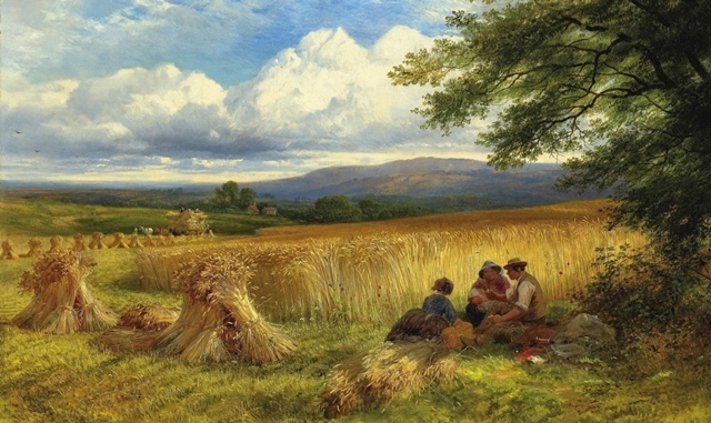 George Cole, R.A. (1810-1883) Harvest Rest signed and dated 'George/Cole/1865' (lower right) oil on canvas 51.4 x 76.2 cm  Provenance Lady Magnus Allcroft, Stokesay Court, Shropshire, (+); her sale, Sotheby's, 29th September 1994, lot 540.   http://www.christies.com/LotFinder/lot_details.aspx?from=searchresults&intObjectID=5451395&sid=1e9a3134-56f5-4e9b-a36c-d777fbc28781
