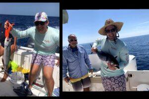 Fishing in boat on ocean